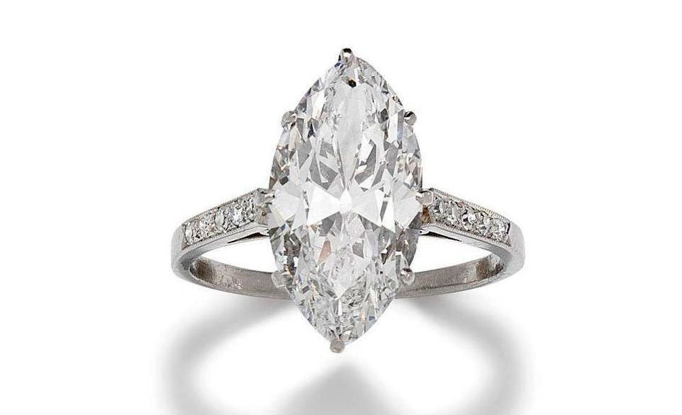 An-old-marquise-cut-diamond-single-stone-ring-weighing-4.61-carats-is-D-colour-VVS2-clarity